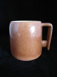 lovely square handle mug by famous experimental potter Oswald Stephens of Dunedin, NZ