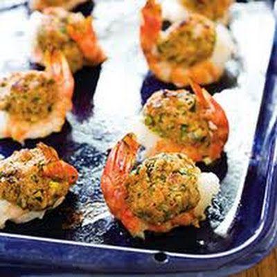 Baked Stuffed Shrimp w/Crabmeat and Ritz Crackers @keyingredient #vegetables #shrimp