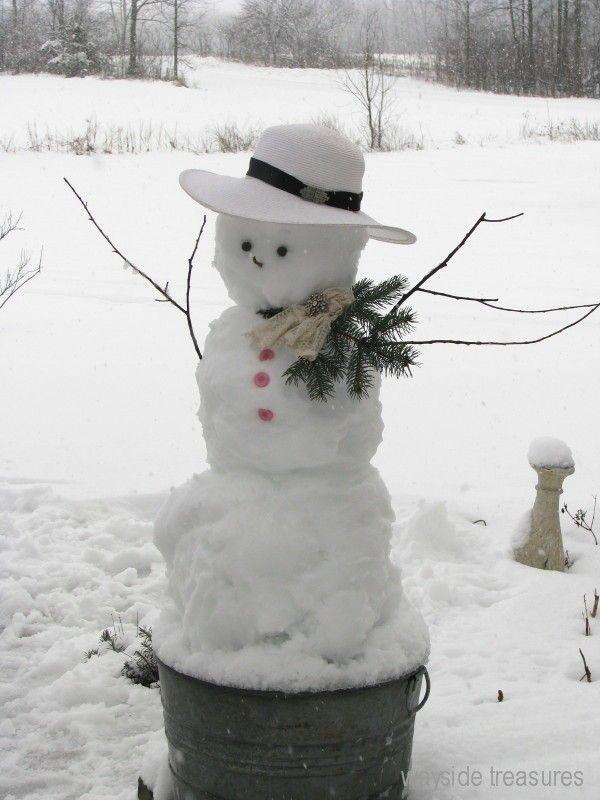 Snowman in a pail