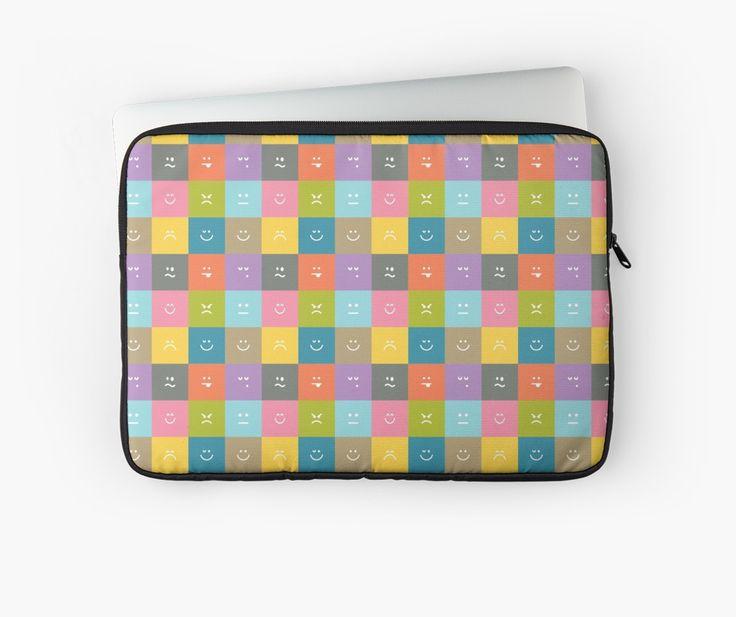 Emoji Emoticon Pattern Illustration by Gordon White   Emoji Macbook Pro Laptop Sleeve Available in 3 Sizes @redbubble --------------------------- #redbubble #emoji #emoticon #smiley #faces #cute #addorable #pattern #laptop #sleeve #macbook