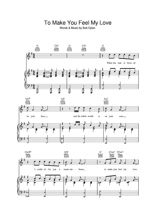 To Make You Feel My Love Sheet Music by Bob Dylan : My Love, Bob Dylan and Dylan Ou0026#39;Brien