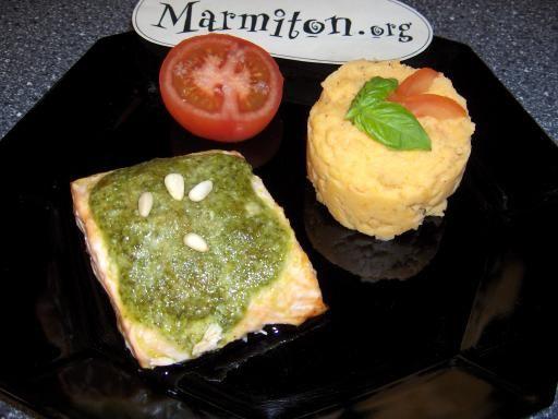 Pavés de saumon au pistou : Recette de Pavés de saumon au pistou - Marmiton