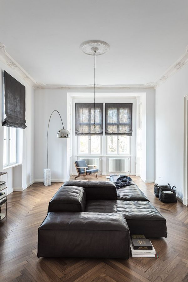 really want a sofa like this! Love the sofa in the middle of the room. Flos Arco Lamp | Achille Castiglioni