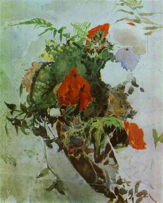 Fleurs rouges et feuilles de bégonia dans un panier, aquarelle de Mikhail Vrubel (1856-1910, Russia)