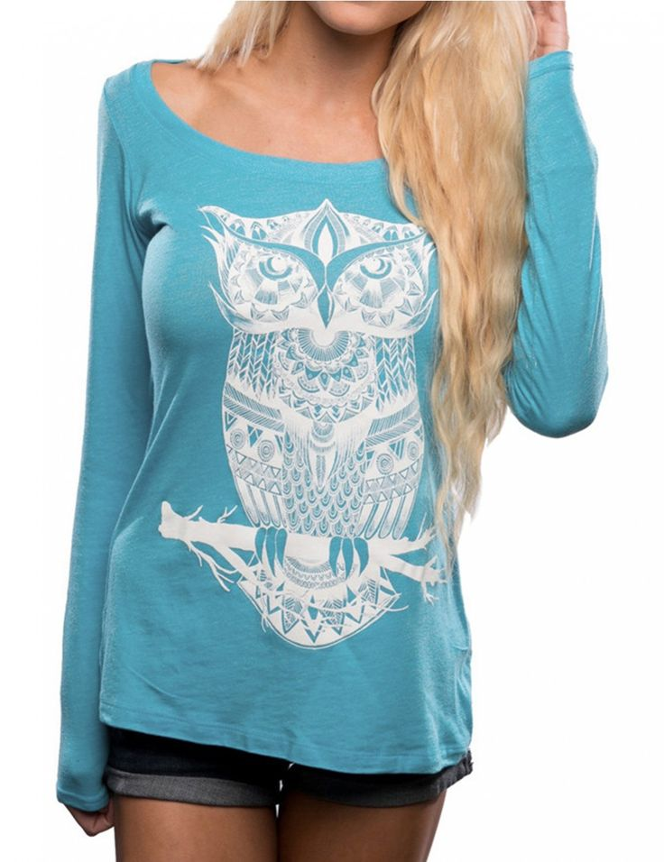 Women Scoop Neck Pullover Owl Print Loose Couple T-shirt Blue S - Yesfashion.com in Free Shipping