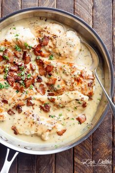 A deliciously Creamy Honey Mustard Chicken with crispy bacon pieces will become your new favourite dinner -- flour less and low carb WITH dairy free options!   http://cafedelites.com