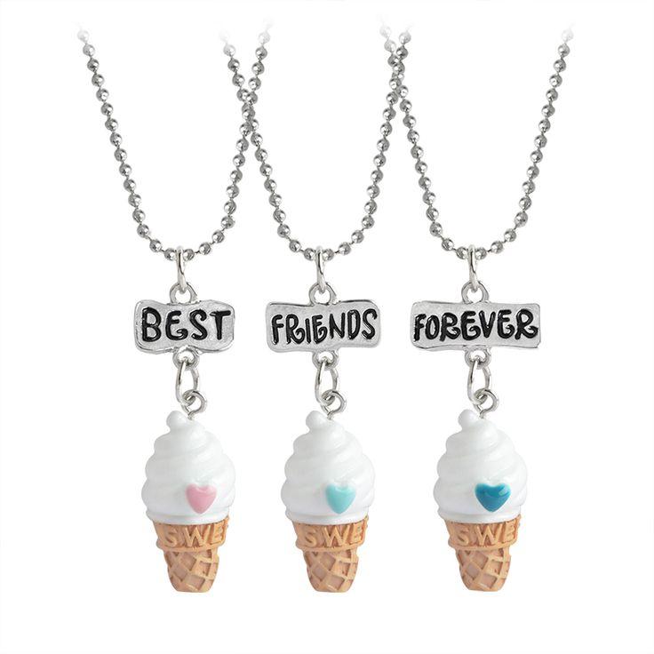 3pcs Best Friends Forever Food Miniature Ice cream Pendant Necklaces Love Heart Friendship Creative BFF Keepsake Christmas Gift