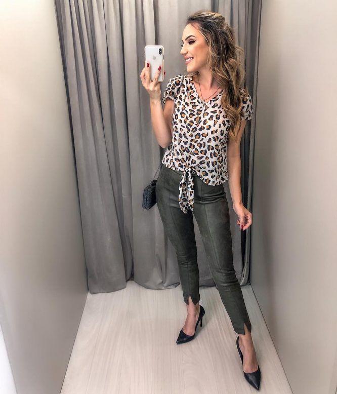 bc6db7ac4 Blusa estampa onça | Blusas Femininas em 2019 | Fashion, Capri pants ...