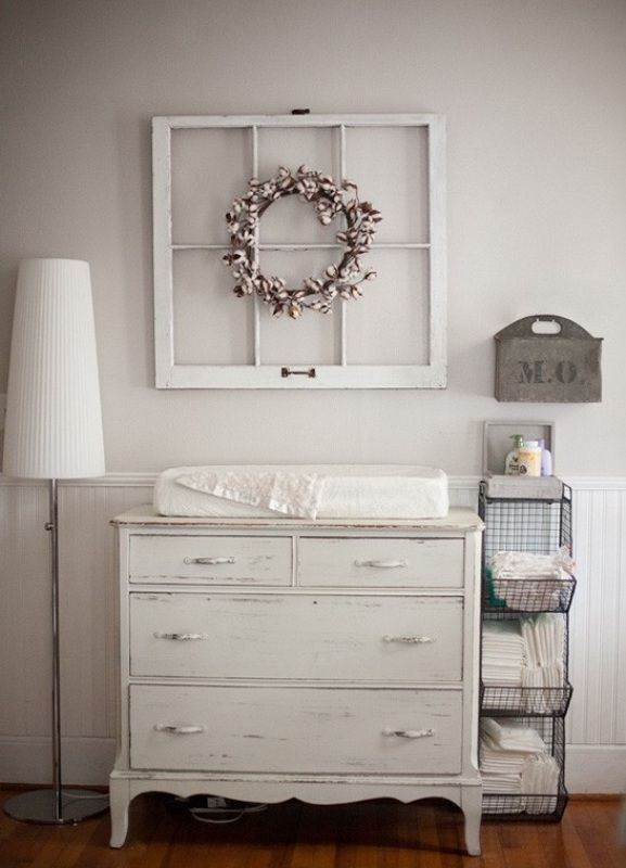 Vintage nursery ideas...the frame we have...need to find cheap old dresser to use for changing table. Liapela.com