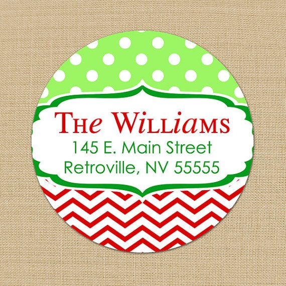 Christmas Dots & Chevron - CUSTOM Christmas Address Labels or Stickers by PoshGirlBoutique