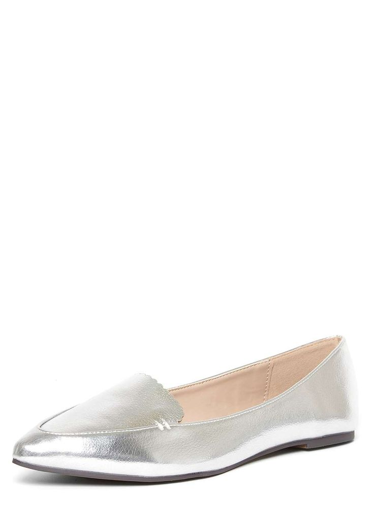 Dorothy Perkins Womens Silver Penelope Scallop Pumps- Silver Silver Penelope metallic pointed flat pumps with a scalloped apron topline. 100% Polyurethane. http://www.MightGet.com/april-2017-1/dorothy-perkins-womens-silver-penelope-scallop-pumps-silver.asp