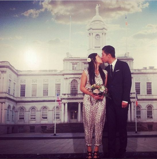 Cute city hall wedding: Beautiful Cities, 51 Beautiful, Bride Super Fun, Dresses Details, Wedding Dresses, Polka Dots Jumpsuits, Cities Hall Wedding, City Hall Weddings, Wedding Outfits