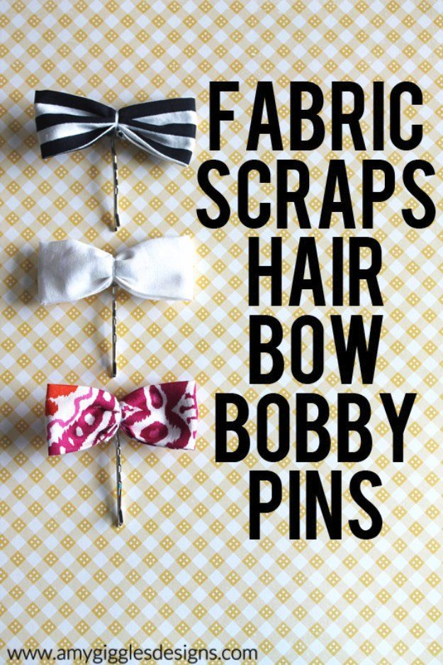 Cool Crafts  You Can Make With Fabric Scraps - Fabric Scraps Hair Bow Bobby Pins - Creative DIY Sewing Projects and Things to Do With Leftover Fabric and Even Old Clothes That Are Too Small - Ideas, Tutorials and Patterns http://diyjoy.com/diy-crafts-leftover-fabric-scraps