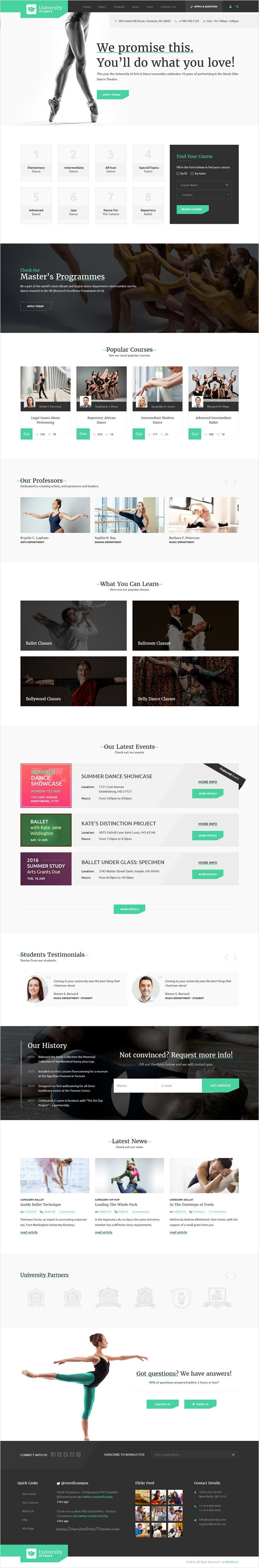 Enroll University is a professional learning management #bootstrap template for #dance #school, college or education website with 4 stunning homepage layouts download now➩ https://themeforest.net/item/enroll-university-college-school-responsive-education-template/17343044?ref=Datasata
