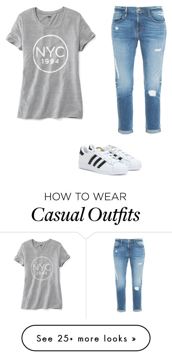 """Casual outfit"" by danielina6 on Polyvore featuring moda, Frame Denim, adidas ve Old Navy"