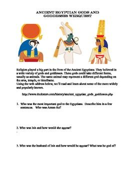 WebQuest: Ancient Egyptian Gods and Goddesses