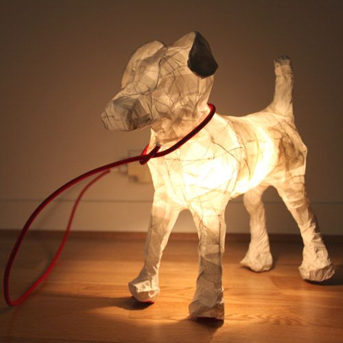 Lampe papier chien Milou