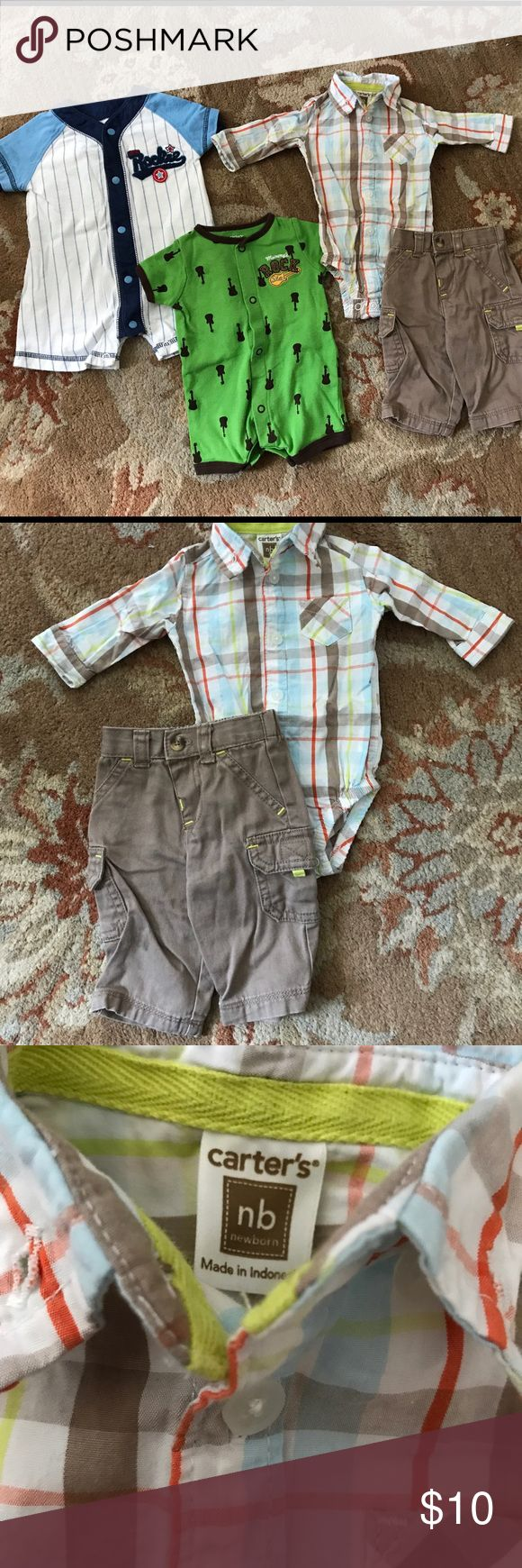 Lot of newborn boy rompers/outfit Lot of boys newborn clothes, all Carters brand and good used condition.  Dress shirt onesie and pants set is so cute, just a little wrinkled. Two nb onesies with normal wash wear, mommy's rock star and baseball designs (baseball one is same brand but runs large, closer to 0-3m). Would be great for an Easter baby! Carter's Matching Sets
