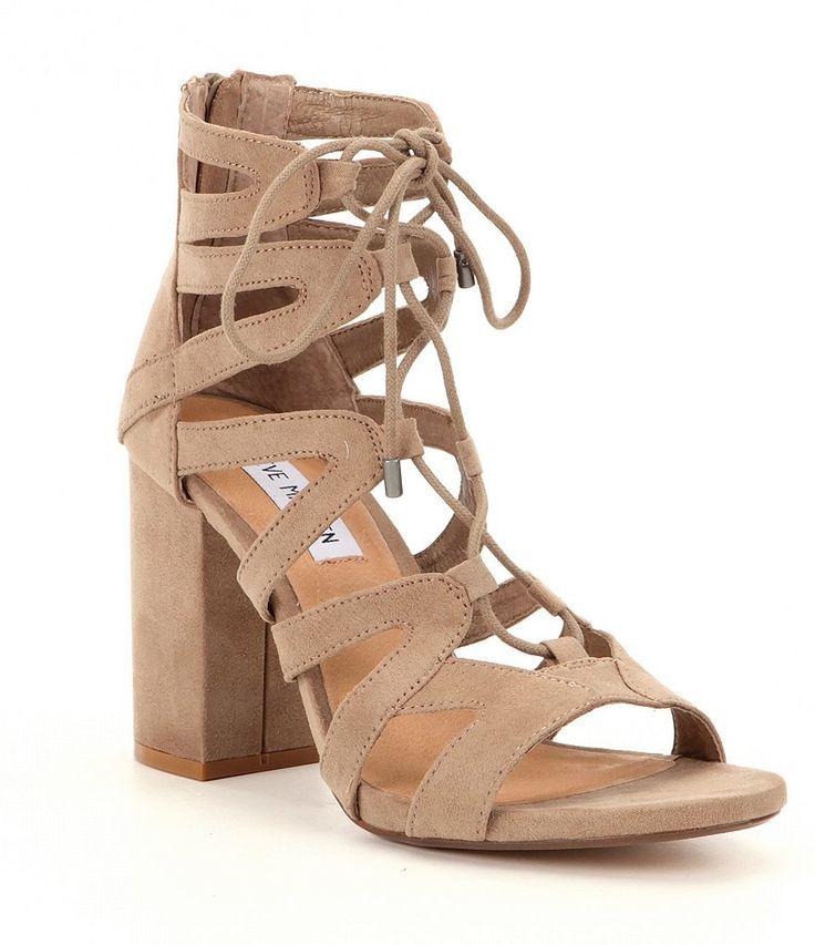 Taupe:Steve Madden Gal Suede Ankle Tie Block Heel Dress Sandals. Sandales  HabilléesChaussures ...