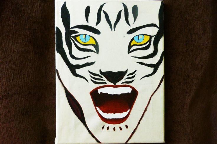 Tigreman pintado por Alex sobre lona costeña