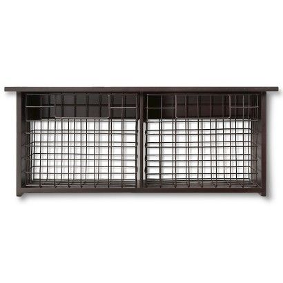 Threshold™ Wall Shelf with Metal Baskets - Espresso