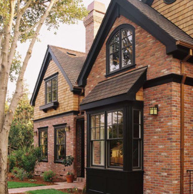 Red brick black windows home pinterest black for Red brick home designs