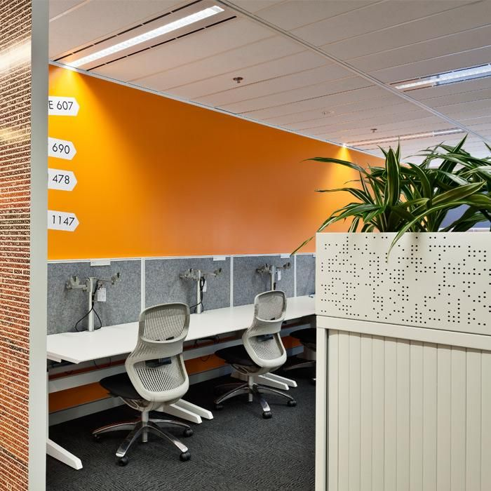Australian Bureau of Statistics | Sydney, NSW.  Designer: CCP Corp. Builder: Schiavello Constructions. UCI Supplied: Paradigm Electric Sit Stand workstations with Zodiac screens and Classic Tambour storage with planter boxes. uci.com.au