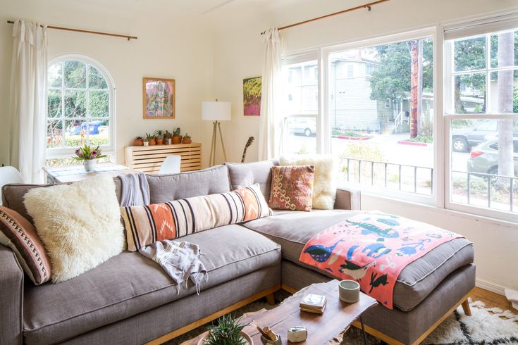 The couple used U Design It Sofa Company, a small mom and pop shop in the valley, to design and build the living room sofa. The two literally used the back of a receipt to draw what they wanted it to look like, and the company took it from there.