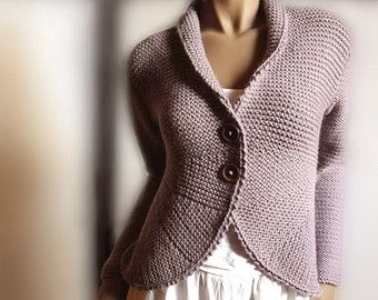 Womens Hand Knit Sweater Blazer Knit Jacket Sweater Cardigan Many Colors Available