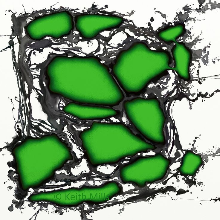 Connectivity 3 Print download Green organic shapes blobs floating over fluid flowing liquid background Modern contemporary decorative art by KeithMills on Etsy