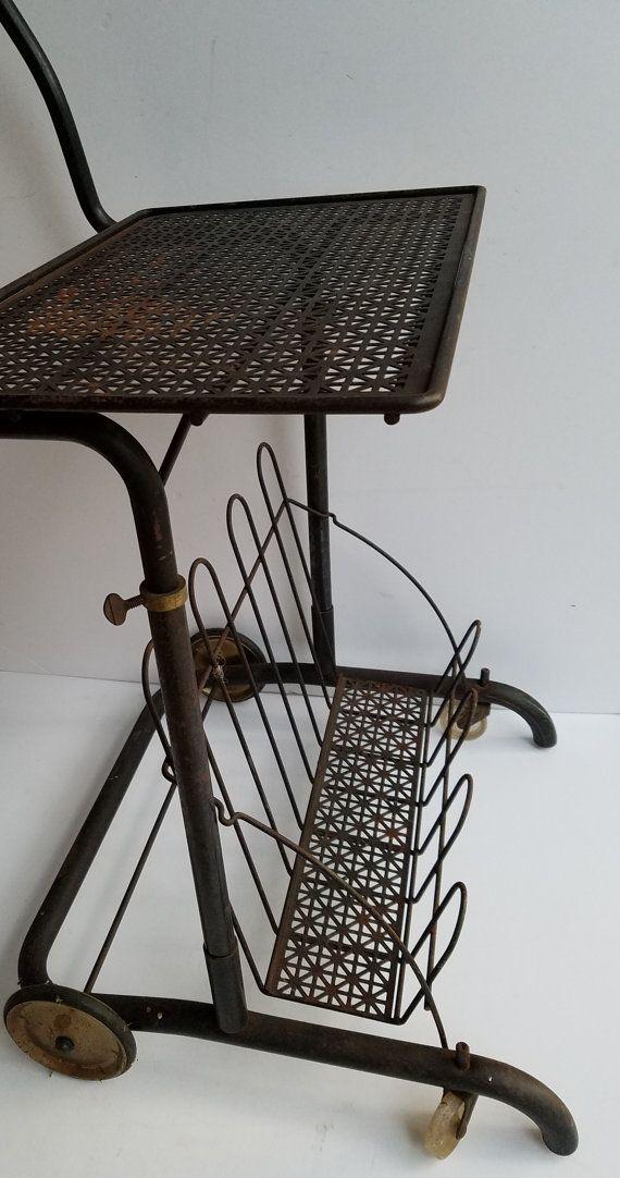 Vintage Portable Black Metal Mesh Cart On Wheels