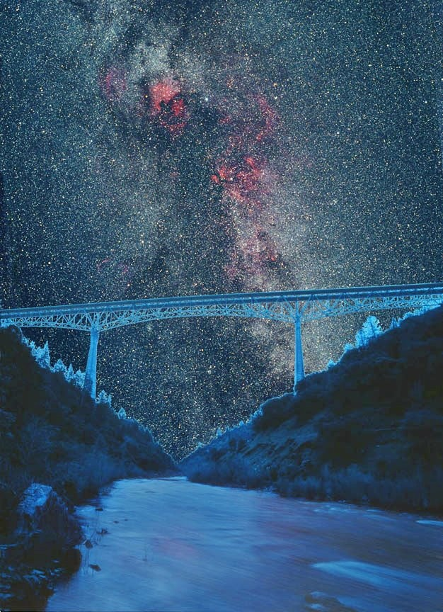 Bridge To The Stars    California's highest bridge at 736 ft spans the North Fork of the American River.  Composite image made from 6x7 format original negatives    Gallery of Astro Photography