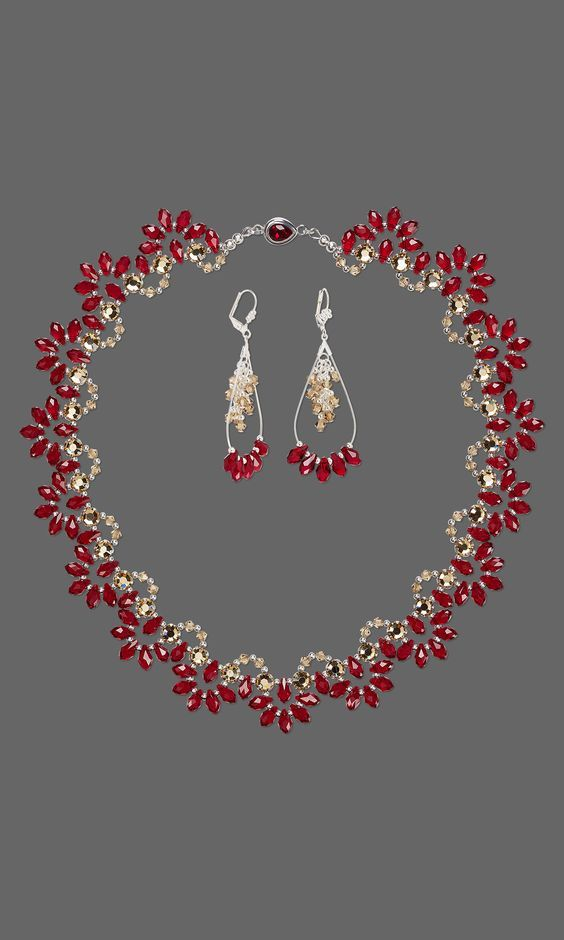 Jewelry Design – Single-Strand Necklace and Earring Set with Swarovski Crystal a…