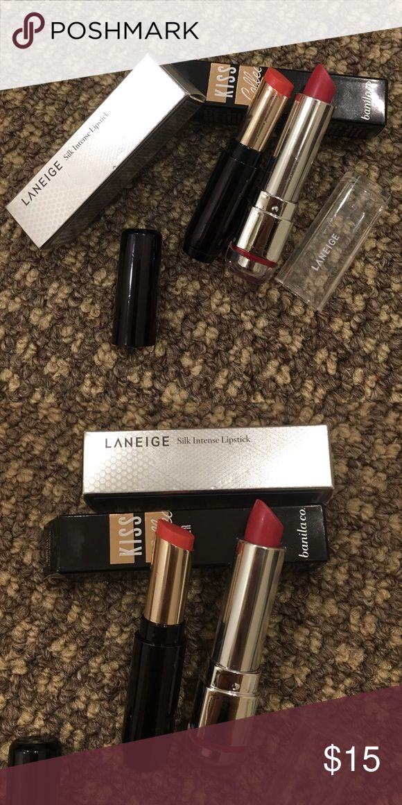 Korean lipsticks laneige and banila.co Selling these popular lipsticks brands from Korea. I used it once but unfortunately the shades doesn't suit me that's why I'm selling. You can see it's not so much used at all. Makeup Lipstick