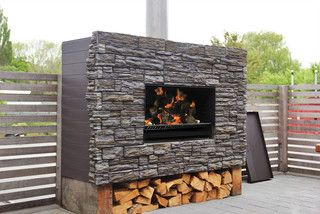 ESCEA Outdoor Wood Frameless Cooking Fire, W/O Flue Kit, W/O Kitset Enclosure - Modern - Fireplaces - by Home Furniture and Patio
