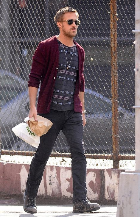 Shop this look on Lookastic:  https://lookastic.com/men/looks/cardigan-crew-neck-t-shirt-jeans-boots-sunglasses/7618  — Tan Sunglasses  — Charcoal Print Crew-neck T-shirt  — Burgundy Cardigan  — Charcoal Jeans  — Charcoal Leather Boots