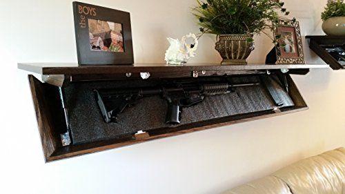 Covert Cabinets LG-36 Gun Cabinet Wall Shelf with Hidden Storage CHERRY FINISH (Oak Wood)