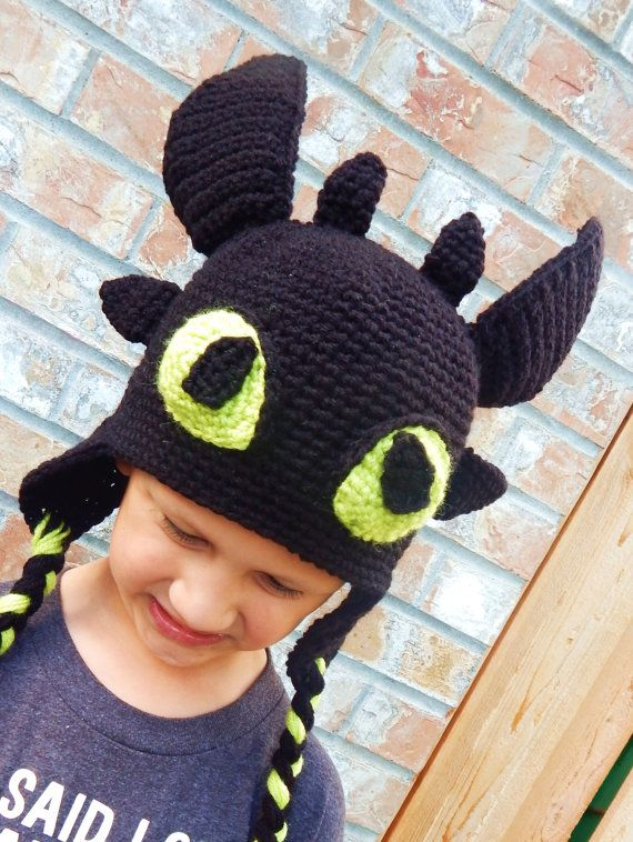 Crocheted Toothless hat CHILD LISTING by NotionsbyD on Etsy, $35.00