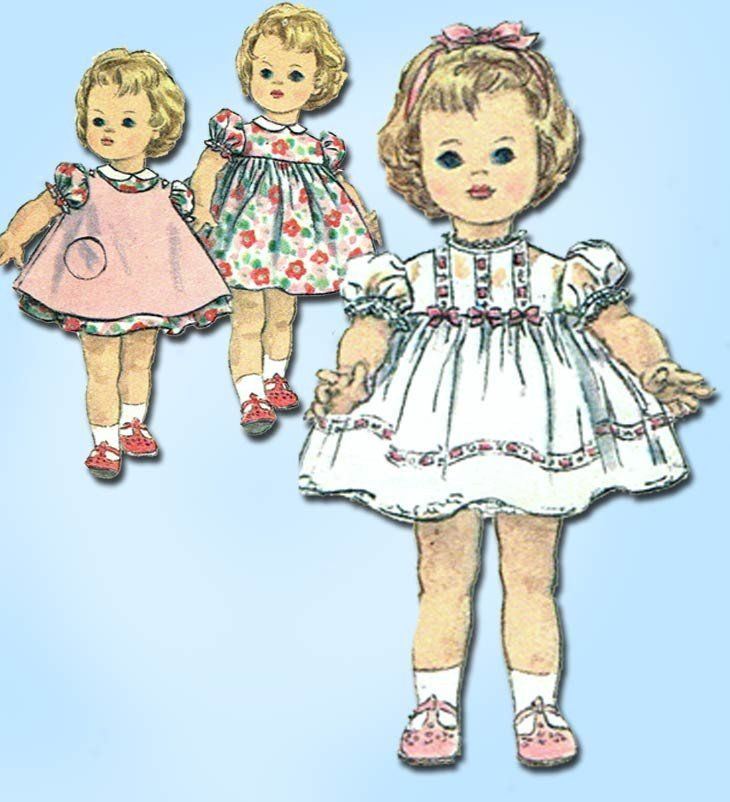 1960s Vintage Simplicity Sewing Pattern 4210 22 Inch Kissy Doll Clothes