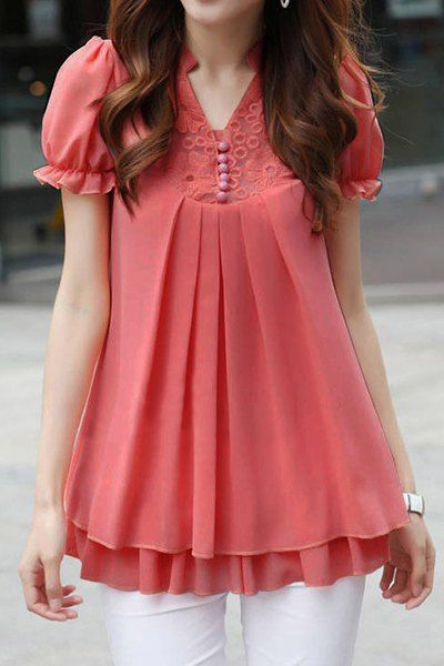 Soporte de cuello de manga corta de encaje Empalme color sólido estilo dulce de la gasa de la blusa para las mujeres