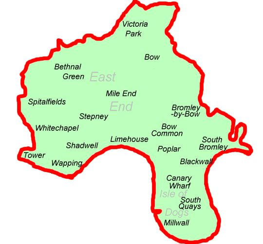Borough of Tower Hamlets was created from the amalgamation of the Metropolitan boroughs of Stepney, Poplar and Bethnal Green, and comprises most of what is commonly known as London's East End.