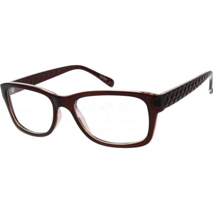 This full rim women's frame is made entirely from plastic and has a rhombus pattern on the temple arms.
