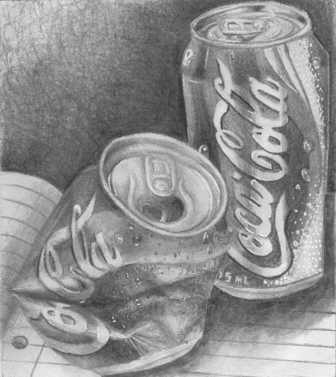 Sketch Images For Drawing: Pencil Drawing Crushed Cans - Google Search