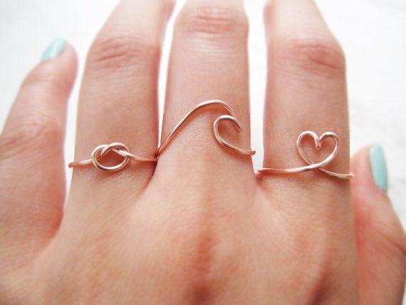 wave ring love knot ring heart ring love knot by TheHumbleRing