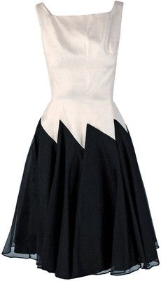 Pre-owned 1950's Jane Andre Black & Ivory-White Graphic Silk Sleeveless Full Party Dress