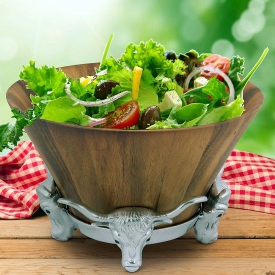 Longhorn Wood Salad Bowl | Arthur Court Designs | 218W11-1