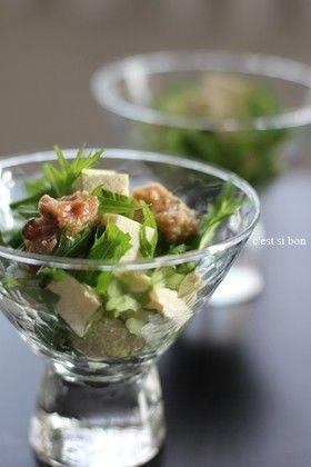 豆腐と水菜の梅サラダ