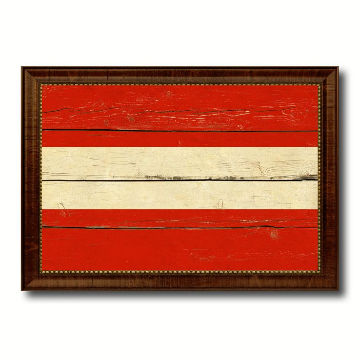 Austria Country Flag Vintage Canvas Print with Brown Picture Frame Home Decor Gifts Wall Art Decoration Artwork