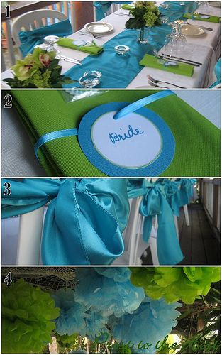 wedding reception table runner ideas with lime green | Prost to the Host