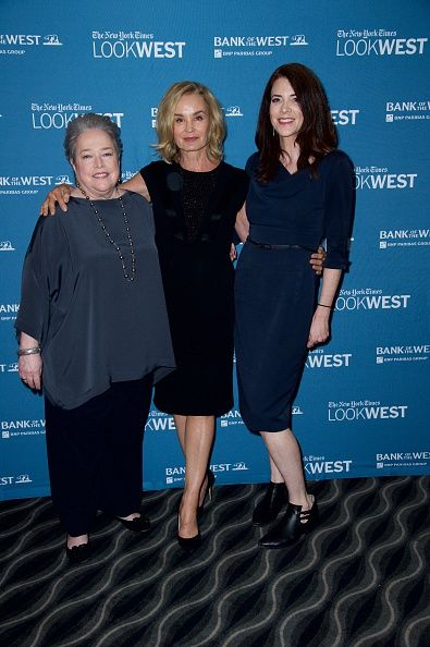 LR Actress Kathy Bates Actress Jessica Lang and New York Times culture reporter Cara Buckley pose for a photo at the 'Look West' New York Times Event...